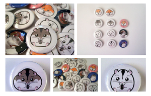 Artshell's Hamster Pinback Button Collection by artshell
