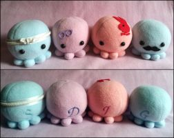 Four custom octopus plushes by ValkyriaCreations