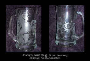 Unicorn Knotwork Beer Mug by pallanoph