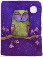 Owl and moon by Neyrelle