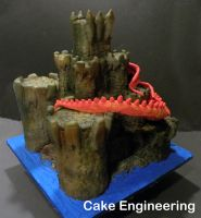 Red Dragon Castle Cake 3 by cake-engineering