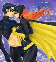 Nightwing and Batgirl by LinART