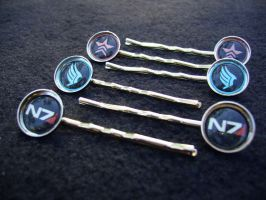 Mass Effect N7 Paragon Renegade Hair Clips by Monostache