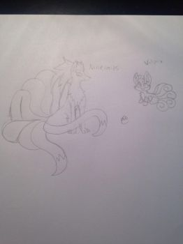 Ninetails and Vulpix Uncolored  by EeveeArts