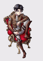 Levi heichou on this red porno chair XD by ThoruPanda