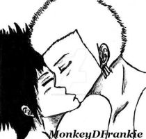 One Piece - Rufy 'n' Zoro kiss by MonkeyDFrankie