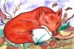 Sleeping fox by fairychamber