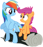 Rainbow Dash and Scootaloo sitting on a log by Internetianer