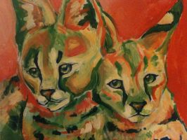 Analogous Servals by KittyNamedAlly