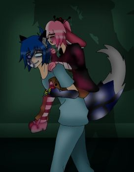 Piggy Back Lab-ronpa AU Art Trade by Mad-Hatter-ison