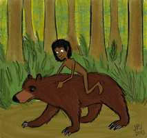 Mowgli and Baloo by jarvworld