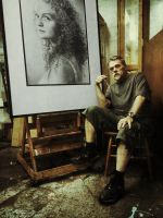 Artist with Drawing by nimra