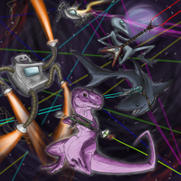 Dinosaur Laser FIGHT by KimmyMonstah