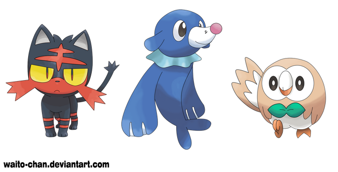 Pokemon Sun and Moon Starters by Waito-chan