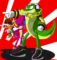 .::Team chaotix Away::. by Wild-Baguette