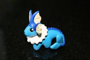 Miniature polymer clay Vaporeon by LittleRedPanda93