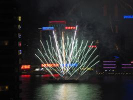 Chinese New Year Fireworks Boat by archangelselect