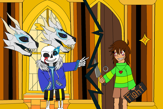 Sans and Chara vs  Stronger than you by Hawk-d-mika