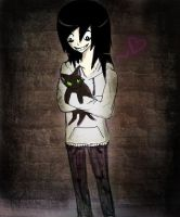 Jeff holding a kitty by XxIdiotNinjaKikixX