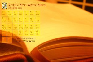 NaNoWriMo Wallpaper 2009 by Fireflowerlass