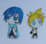 Kaito and Len chibis by Pumkinkiller777