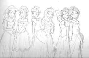 Pretty Princesses Uncolored by Northstar2790