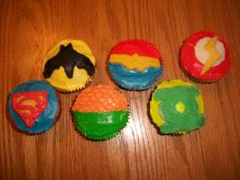 Justice League Cupcakes by LOLSquidyLOL