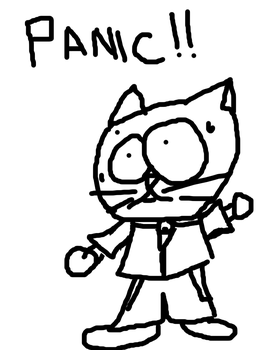 Cat in panic by blackdetective