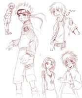 Naruto Sketches by Looby-the-Pirate