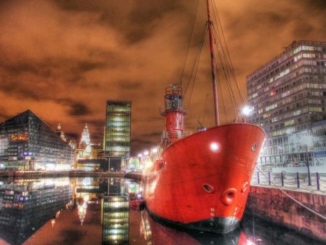 Liverpool Dock - Red Boat HDR by Paul-Madden