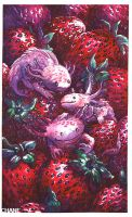 Axolotls Strawberries by Morgan-chane