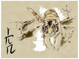Chinese Tiger Painting 2 by Kellalizard