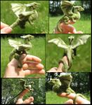 Felted green dragon collage by tallydragon