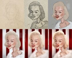 Marilyn Monroe painting process by lepeART