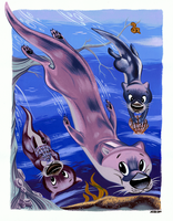 River Otters Redux by Pocketowl