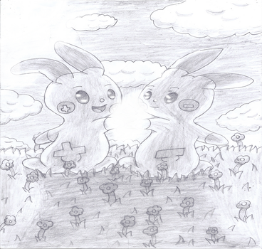 Plusle and Minun by lavaquil