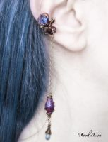 Blue and Burgundy Ear Cuff by AmeliaLune