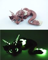 bronze glow in dark dragon by claymeeples