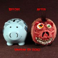 Rot Freaky Face Piggy Bank com by Undead-Art