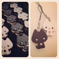 Black and White Kitty Charms - WIP by littlepaperforest
