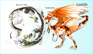 FlightRising SeaTurtle and KoiCove by LilOrangeDragoness