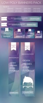 FreE Banners Pack all size free PSD file Low Poly by kadayoub