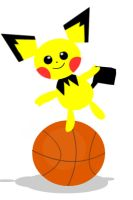 Pichu on a Basketball by lose-the-shoes