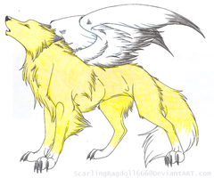 Colored Lineart: Winged Wolf by Flareblade2000