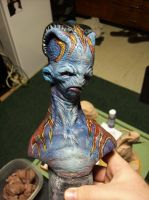 Little bit of painting on an old bust I sculpted.. by misfitjake