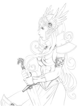 Valkyrie line art by TheNurge