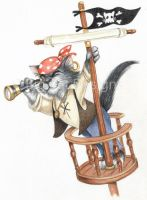 Spyglass Pirate Cat by bigcatdesigns