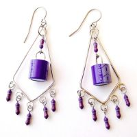 Purple Computer Electronics Chandelier Earings by Techcycle