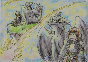 Toothless and Hiccup - Look at that Shooting star! by Hukkis