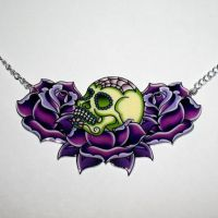 Sugar Skull and Roses PURPLE by Horribell-Originals